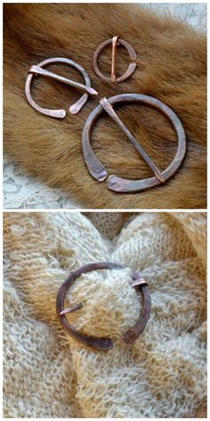 A Celtic brooch, called also penannular brooch, made with a scrap piece of thick copper wire.