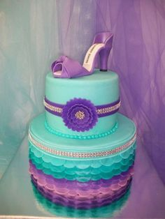 - This was a Celebration of Life cake for an 8 year old cancer patient that passed away. She loved these colors and high heels. I was asked to make the cake for a table centerpiece. Shoe Box Cake, Shoe Cakes, Cupcake Cakes, Pretty Cakes, Beautiful Cakes, Amazing Cakes, 13 Birthday Cake, Girl Birthday, 13th Birthday