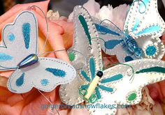 Punched Tin Butterflies - color accents created using nail polish!  More here: http://gingerbreadsnowflakes.com/node/834
