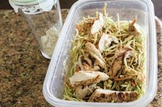 chicken, broccoli slaw, hummus & balsamic - easy lunch for work