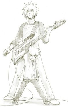 Rock out! Naruto and Minato, so cute!
