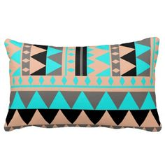 Abstract Peach Teal Gray Geometric Aztec Triangles Pillows