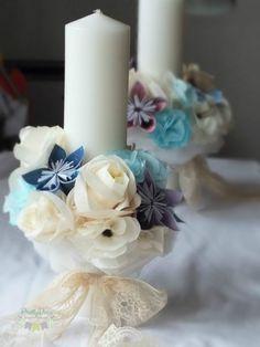 Table Arrangements, Pillar Candles, Paper Flowers, Origami, Wedding Flowers, Bouquet, Table Decorations, Bridal, Floral
