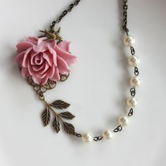 Pink Rose Flower, Ivory Pearls Bird Necklace.