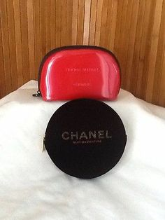 Chanel Lot of 2 Small Cosmetic Travel Zip Around Pouches Red Black L K | eBay