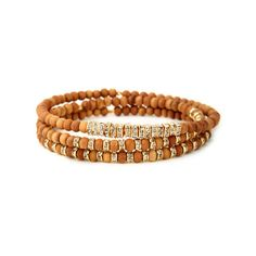 Chic Hippie Scattered Crystal and Wood Beaded Bracelet Set