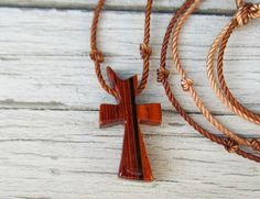 Handcrafted Wooden Cross Necklace  Cocobolo by TheLotusShop, $16.95