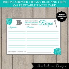 INSTANT DOWNLOAD Printable 4x6 Bridal Shower Recipe Cards / by PamelaReneeDesigns, $3.00. Include with the invitation for guests to fill out and bring to the shower. Perfect keepsake for the bride to be!