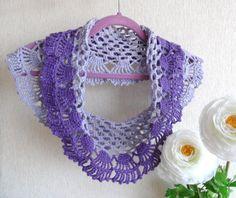 Crochet Lacy Cowl Crochet Neckwarmer Lilac by CraftsbySigita