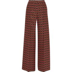 Etro - Printed Silk-blend Crepe Wide-leg Pants (6 375 ZAR) ❤ liked on Polyvore featuring pants, multi, brown trousers, bohemian style pants, colorful pants, etro pants and wide leg print pants