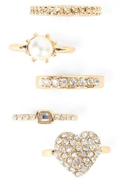 Deb Shops 5 piece ring set with pearl, heart and stones $6.00