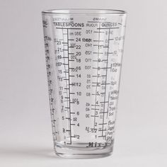 Our Mix-N-Measure Beaker features permanent measurements for six different categories, including teaspoons, tablespoons, cups, ounces, grams and milliliters. Plus, this dishwasher-safe, two-cup capacity glass has you covered for all those odd measurements that so many recipes call for today, like one-quarter cup plus two tablespoons. -- World Market