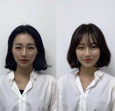 Bangs For Round Face, Short Hair With Bangs, Short Hair Cuts, Short Bob Hairstyles, Hairstyles With Bangs, Girl Hairstyles, Hair Inspo, Hair Inspiration, Korean Short Hair