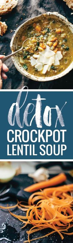 Detox Crockpot Lentil Soup - a clean and simple soup made with onions garlic carrots olive oil squash and LENTILS! Super healthy and easy to make. Crock Pot Recipes, Slow Cooker Recipes, Soup Recipes, Vegetarian Recipes, Cooking Recipes, Healthy Recipes, Best Lentil Recipes, Crock Pots, Vegan Vegetarian