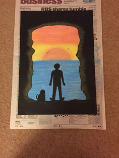 Kensuke's Kingdom inspired art - cut out of A3 black card mounted on white A3 card background covered in blended chalk.