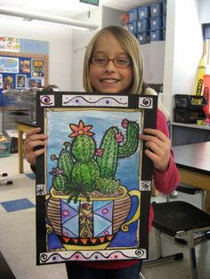 5th Grade cacti. value. blending. watercolor. pattern