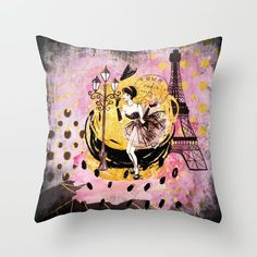 Delightful Beautiful Fashion Girl In Paris  Shopping At The Eiffel Tower On Throw  Pillow Design Inspirations