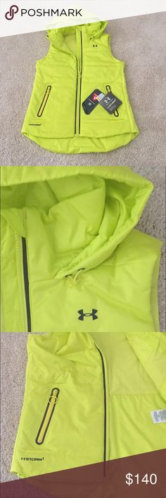 🎉SALE🎉 NWT Under Armour Neon Yellow Storm Vest! This must have UA vest is a women's size small. It is neon yellow and comes with an attached hood. It has zipper pockets and is super warm and comfy! This vest retails for $150 & is SO hard to find! Asking $140/OBO! *Bundle to save & ask for a bundle quote! Under Armour Jackets & Coats Vests