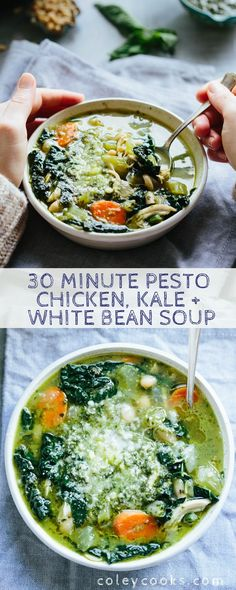 30 Minute Pesto Chicken Kale White Bean Soup is the perfect cozy recipe to whip up on a cold night when you want something healthy and easy. Gluten free fresh and delicious! Lunch Recipes, Dinner Recipes, Healthy Recipes, Keto Recipes, Recipes With Pesto, Summer Soup Recipes, Kale Soup Recipes, Chili Recipes, Cream Recipes
