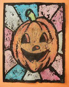 Oil Pastel Resist Halloween Art