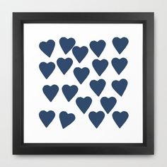 Hearts Navy Framed Art Print by Project M - $35.00