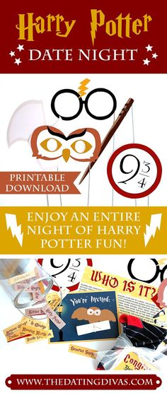 It's a Harry Potter Marathon! This fall date night includes printable photo booth props and a game! SO FUN!! - The Dating Divas -