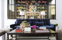 Gold banisters!!!  Home Tour: A Colorful Modern House in NorCal via @domainehome