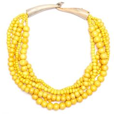 Bajalia kamini Beaded Necklace Yellow By (5,420 INR) ❤ liked on Polyvore featuring jewelry, necklaces, accessories, yellow necklace, bead jewellery, beading necklaces, bead necklace and strand necklace