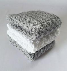 Handmade Kitchen Dish Cloths Gray Grey White Cotton Wash Cloth Cotton Set of 3