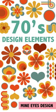 Retro 70's flower power clipart #design #70s #1970s #clipart #retro #1970