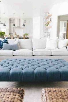navy blue ottoman coffee table Collection-Mapleton New Build Living Room House of Jade Interi. Tufted Ottoman Coffee Table, Blue Ottoman, Ottoman In Living Room, Home Living Room, Living Room Designs, Living Room Furniture, Living Room Decor, Ottoman Bench, Round Ottoman