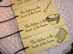 These will be good to attach to edible homemade Christmas gifts. Kitchen Baking Cooking Tags Set of 8 by LazyDayCottage on Etsy, $3.95