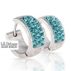 RVS Crystal Hoop Oorring Smal, Lili Deluxe Groothandel Zilveren RVS Juwelen