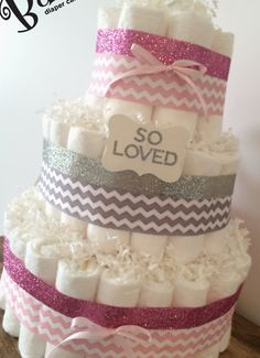 Gray and Pink Chevron Diaper Cake for Baby Girl Shower Decor