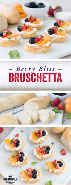 Berry Bliss Bruschetta: Bruschetta for breakfast, dessert or anytime snacking? Count us in! Especially when toasted California Goldminer Sourdough flute slices are involved. This delicious loaf is perfectly paired with fresh mint, creamy Mascarpone cheese, sliced apricots, blackberries and strawberries for a sweet and savory, tart and tangy treat.