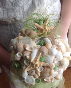 Green Starfish Bouquet Sea Shell Beach Wedding By BeachBasketBride 22500