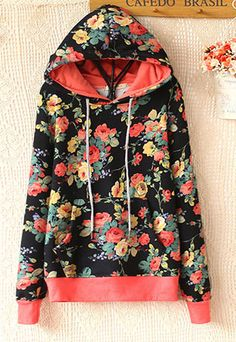 /Folk Style Overall Floral Print Hooded Sweatshirt