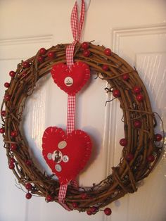 Christmas Wreath  Scandinavian Nordic Hearts by Welsheggdesigns, £7.50