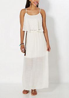Ivory Crochet Popover Maxi Dress