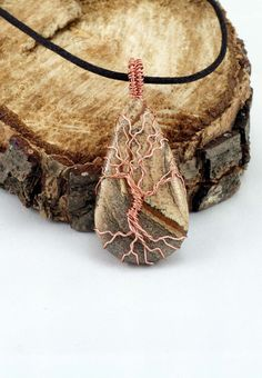 Picture Jasper Tree of Life Pendant Raw Copper Wire Wrapped Jasper Cabochon with Satin Chain