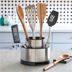 Shop The Pampered Chef Stainless Steel Rotating Utensil Holder and other top kitchen products. Explore new recipes, get cooking ideas, and discover the chef in you today! Top Dessert Recipe, Cooking Tools, Cooking Equipment, Cooking Utensils, Kid Cooking, Cooking Ideas, Cooking Supplies, Cooking Classes, Food Cakes