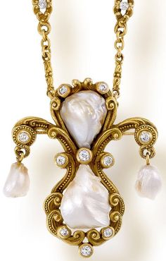An antique freshwater pearl, diamond and fourteen karat gold pendant necklace, Marcus & Co.  The pendant with beaded scroll motifs set with four freshwater pearls, measuring approximately 13.60 x 11.60 to 7.60 x 6.55mm., and accentuated by ten old mine-cut diamonds, reverse with chased and engraved designs, suspended from a chain of foliate links with two old mine-cut diamonds and beaded accents; pendant convertible to a brooch; unsigned, attributed to Marcus & Co.; gross weight approxima