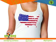 America filled flag custom shirt. At Big Frog we can put what makes you proud on your shirt... everything we do it custom made just for you! Contact us at DesignersValrico@BigFrog.com to get started! #DTG #Embroidery #ScreenPrint #Vinyl #Sublimation Patriotic Shirts, American Pride, Custom Shirts, Screen Printing, Custom Made, Tank Man, Just For You, Flag, Florida