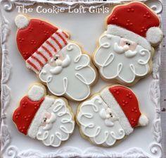 The many faces (and cookie cutters) of Santa❤️❤️#thecookieloftgirls #instacookies #santacookies #cookiesofinstagram #sugarcookies #decoratedsugarcookies #wiltoncakes