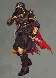 m Rogue Assassin Leather Armor Cloak Dual Daggers Throwing Knives Poison undercity urban City lg Black Characters, Marvel Characters, Fantasy Characters, Character Concept, Character Art, Character Design, Character Ideas, Fantasy Warrior, Fantasy Art
