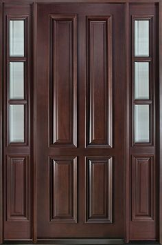 Classic Series Mahogany Solid Wood Front Entry Door - Single with 2 Sidelites - DB-315T 2SL