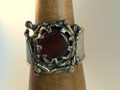 Brutalist Mexican Cuff Bracelet ? Metal Art - Sculptural Modernist - Layered Agate ? Brutalist Claw Prong Mount ? weight 88.6g