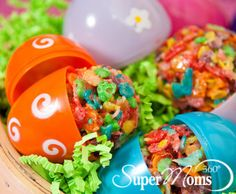 Easter Recipes for Kids | Easter Desserts | Rice Krispie Treats | Rice Krispie Eggs | Easter Party Ideas | Easter Eggs | A colorful twist on the marshmallow crispy treats we all love. This easy Easter recipe for kids...