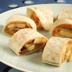 peanut butter banana in tortilla