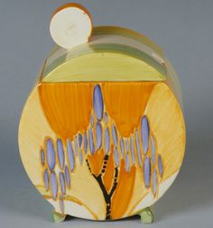 """""""Bizarre"""" Jam Pot with Cover. Clarice Cliff (British, 1899–1972). Manufacturer: Newport Pottery. Date: 1929–39. Medium: Earthenware. Dimensions: H. 5-1/4, W. 2-7/8 inches."""